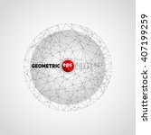 wireframe mesh in circle ... | Shutterstock .eps vector #407199259