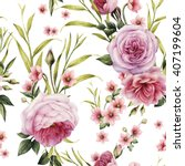 Stock photo seamless floral pattern with roses watercolor 407199604
