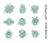 space thin line icons set.... | Shutterstock .eps vector #407199631