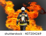 fire fighter on oil and gas... | Shutterstock . vector #407204269