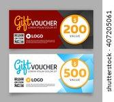 gift voucher template  set of... | Shutterstock .eps vector #407205061