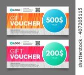gift voucher template  premium... | Shutterstock .eps vector #407205115