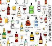 vector alcohol bottles... | Shutterstock .eps vector #407207557