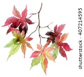 Watercolor Autumn Branch With...