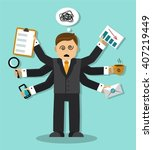 tired businessman who has a lot ... | Shutterstock .eps vector #407219449