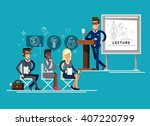 modern business teacher giving... | Shutterstock .eps vector #407220799