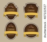 set of dark labels. coffee... | Shutterstock .eps vector #407222527