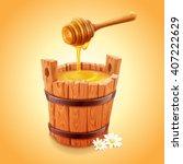 honey stick and bucket | Shutterstock .eps vector #407222629