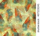 imprints boho feathers. hand... | Shutterstock . vector #407223241
