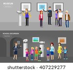 Stock vector funny character people in museum archeological museum of antiquity and natural science exposition 407229277