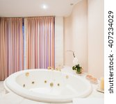 view of spacious bathtub inside ... | Shutterstock . vector #407234029