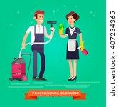 poster design for cleaning... | Shutterstock .eps vector #407234365
