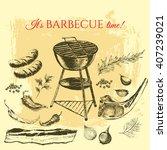vector steak meat hand drawing... | Shutterstock .eps vector #407239021