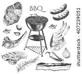 vector steak meat hand drawing... | Shutterstock .eps vector #407239051