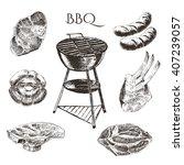 vector steak meat hand drawing. ...   Shutterstock .eps vector #407239057