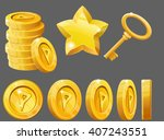 set of gold items  coins  star... | Shutterstock .eps vector #407243551