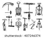 Big Set Of Corkscrew. Vector...