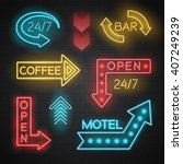 motel and bar neon realistic... | Shutterstock .eps vector #407249239