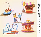 Amusement Park Cartoon Set Wit...
