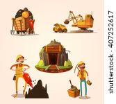 mining concept set with retro... | Shutterstock .eps vector #407252617