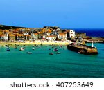 st.ives  cornwall  uk. june 18  ... | Shutterstock . vector #407253649