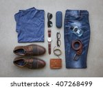 men's casual outfits with... | Shutterstock . vector #407268499