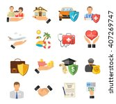 insurance flat icons set for... | Shutterstock .eps vector #407269747
