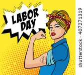 the factory girl with biceps ... | Shutterstock .eps vector #407271319