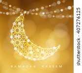 ornamental arabic moon. golden... | Shutterstock .eps vector #407276125