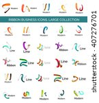 vector line ribbon logo set.... | Shutterstock .eps vector #407276701