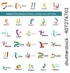 vector line ribbon logo set.... | Shutterstock .eps vector #407276701