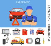 car service concept with flat... | Shutterstock .eps vector #407276797