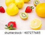 harvest juicy fruit and berries.... | Shutterstock . vector #407277685