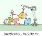 sketch of teamwork with working ... | Shutterstock .eps vector #407278474