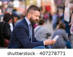 hipster manager with mart phone ... | Shutterstock . vector #407278771