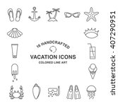 set of 16 handcrafted vacation... | Shutterstock .eps vector #407290951