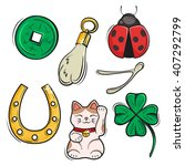 vector set of lucky charms ... | Shutterstock .eps vector #407292799