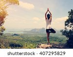 young fitness yoga woman at... | Shutterstock . vector #407295829