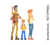 family of three ready for hike... | Shutterstock .eps vector #407299861