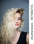 fashion model with long blond... | Shutterstock . vector #407306731
