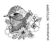 vector zentangle bird portrait... | Shutterstock .eps vector #407315899