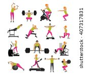 fitness and workout exercise in ... | Shutterstock .eps vector #407317831