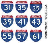 collection of interstate... | Shutterstock . vector #407318665