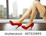 slim sexy woman legs and city... | Shutterstock . vector #407319895
