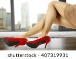 slim sexy woman legs and dark... | Shutterstock . vector #407319931