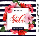 Stock vector summer sale concept summer background with tropical flowers template vector 407320567
