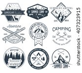 vector set of camping labels in ... | Shutterstock .eps vector #407323915