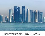 Stock photo the morning view of the skyscrapers of doha from the persian gulf 407326939
