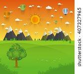 flat design nature landscape... | Shutterstock .eps vector #407327965
