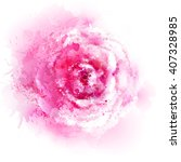 pink rose blossom. watercolor... | Shutterstock .eps vector #407328985
